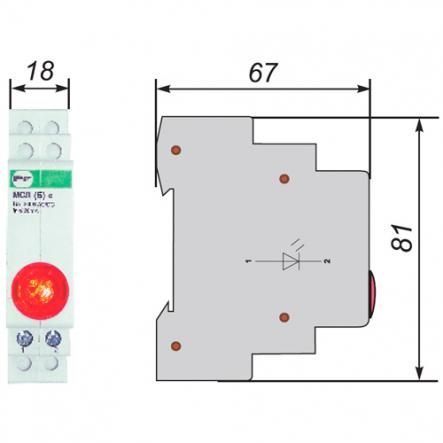 Сигнальная арматура модульная ЛСМ Промфактор ВК832 К светодиодная красная 220В - 1