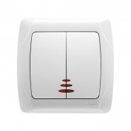 Выключатель двухклавишный с подсветкой белый VIKO Серия CARMEN