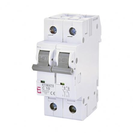 Автоматический выключатель ETI 6 2p C 10А (6 kA) 2143514 - 1