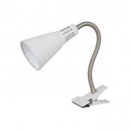 Настольная лампа прищепка матовая белая 1 х E14, 40Вт