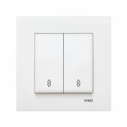 Выключатель двухклавишный на 2 направления белый VIKO Серия KARRE