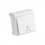 Выключатель одноклавишный кнопочный с подсветкой  белый VIKO Серия VERA