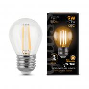 Лампа Gauss LED Filament Шар  E27 9W 680lm 2700K