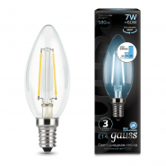 Лампа Gauss LED Filament Свеча E14 7W 580lm 4100К step dimmable
