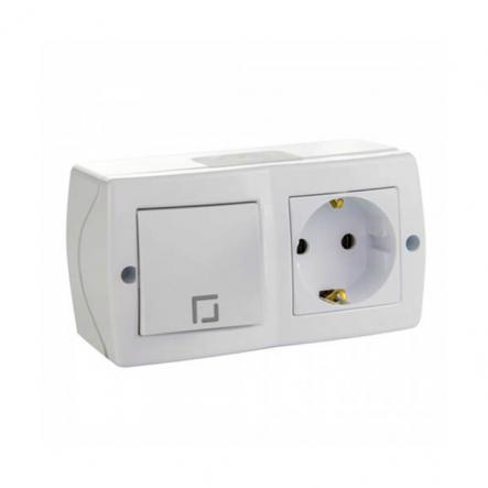 Выключатель 1кл. проходной+розетка с заземлением накладной Mono Electric, OCTANS IP 20 белый - 1