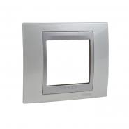 Рамка 1-местная белоснежный/алюминий Unika