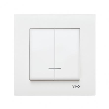 Выключатель двухклавишный с подсветкой белый VIKO Серия KARRE - 1