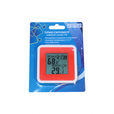 Термо-гигрометр цифровой с часами Т-07 Украина - 1