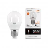 Лампа Gauss LED Elementary Шар 8W E27 2700K