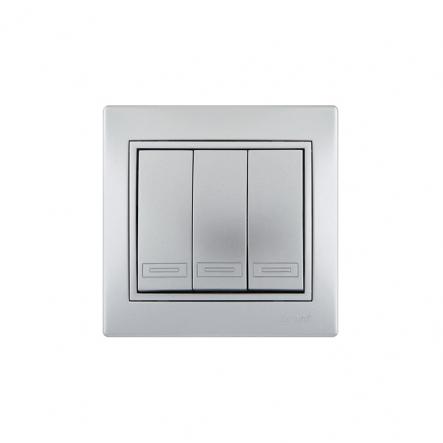Выключатель 3-кл. металл серый со вставкой - 1
