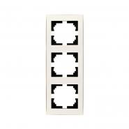 Рамка 3-я вертикальная с боковой вставкой жемчужно-белый перламутр Lezard серия RAIN