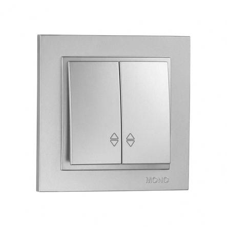 Выключатель 2 кл. проходной , Mono Electric, DESPINA (серебро) - 1