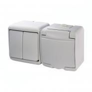 Микс горизонтальный (2 клавишный выключатель +1-я розетка schuko белая крышка) (IP44) VRHH-2s