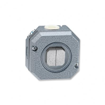 Выключатель двухклавишный наружный в металлическом корпусе серый IP 66 - 1