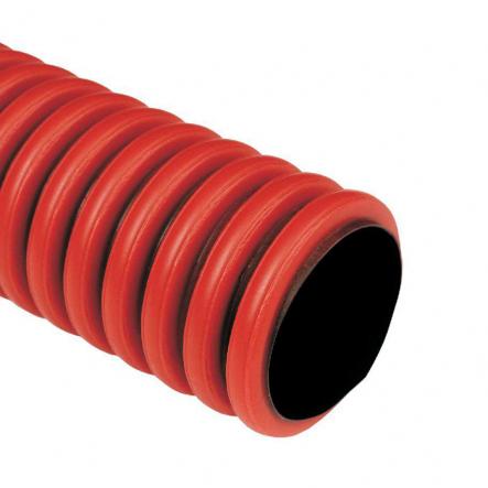 Труба двухстенная д110/94мм с протяжкой 50м красная - 1