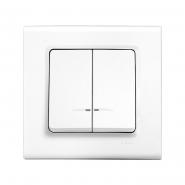 Выключатель двухклавишный с подсветкой белый LINNERA VIKO