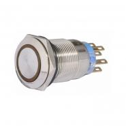 Кнопка металлическая  плоская с фиксацией. 2NO+2NC, с подсветкой, желтая 220V TYJ 19-372желт   АСКО-УКРЕМ