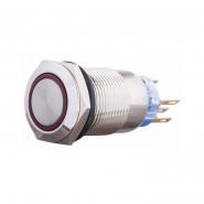 Кнопка металлическая плоская  с фиксацией 1NO+1NC, с подсветкой, красная 220V TYJ 19-371красн. АСКО-УКРЕМ