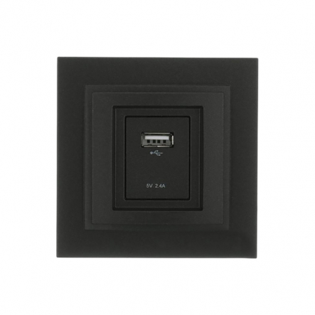 Розетка USB-ЗАРЯДКА, Mono Electric, DESPINA ( графит ) - 1