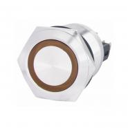Кнопка металлическая плоская 22мм с подсветкой  1NO+1NC, желтая 220V TYJ 22-271желт АСКО-УКРЕМ