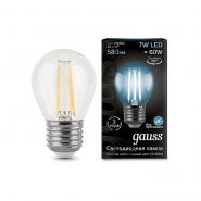 Лампа Gauss LED Filament Шар E27 7W 580lm 4100K