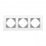 Рамка белое стекло тройная горизонтальная VIDEX BINERA