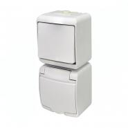 Микс вертикальный (1 клавишный выключатель+1-я розетка schuko белая крышка) (IP44) VRHP-1s