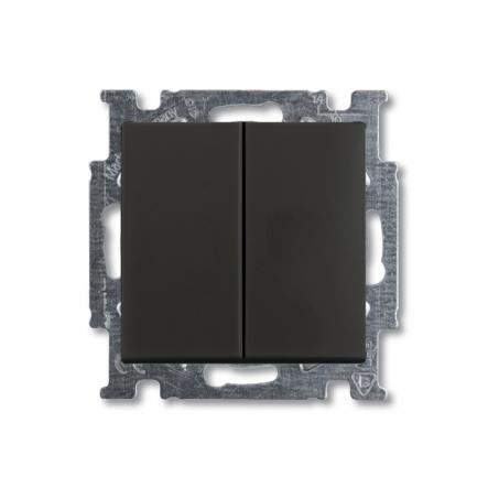 Выключатель двухклавишный чёрный шато - 1