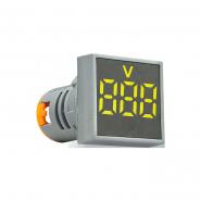 Вольтметр квадратный  ED16-22FVD 30-500В АС (жёлтый) врезной монтаж