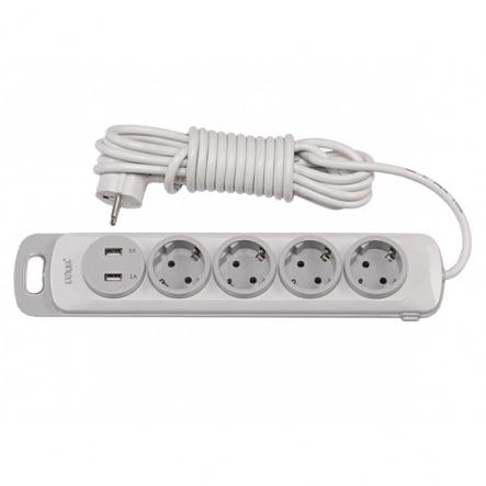 Сетевой удлинитель Luxel Nota 4 розетки 3М с заземлением и выключателем +2 USB гнезда (4353) - 1