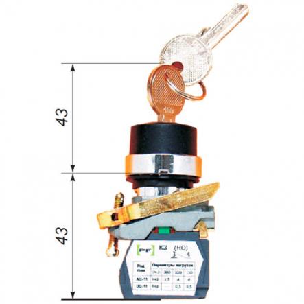 Выключатель кнопочный ВК-011ККБ 2-х 23(Ключ бирка 2-х позиционный,ключ не вынимается) 2но Промфактор - 1