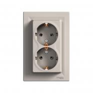 Розетка двойная Schneider Electric Asfora EPH9900169 с заземлением (бронза)