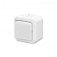 Выключатель одноклавишный кнопочный проходной белый IP54