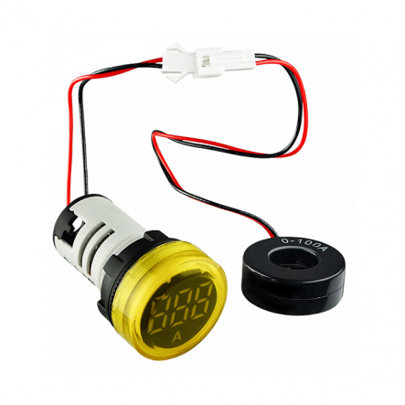 Амперметр цифровой ED16-22AD 0-100A (желтый) врезной монтаж - 1