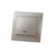 Выключатель 1-кл с подсветкой жемчужно-белый перламутр со вставкой MIRA.