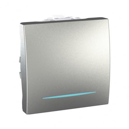 Выключатель одноклавишный с подсветкой алюминий Unika - 1
