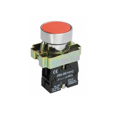 Кнопка LAY5-BA42без подсветки красная 1НЗ ИЕК - 1