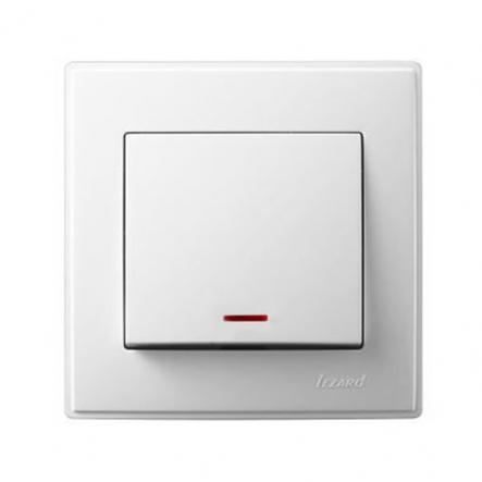 Выключатель одноклавишный Lezard Lesya с подсветкой 10 А 250В белый 705-0202-111 - 1