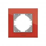 Рамка красное стекло одинарная горизонтальная VIDEX BINERA