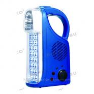 Фонарь радио синий 24LED+3LED+FM 6 V BUKO