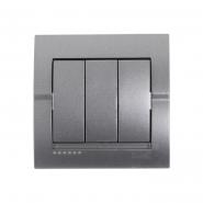 Выключатель 3-кл темно серый металлик DERIY