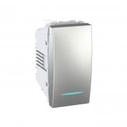 Выключатель одноклавишный 1 модуль с подсветкой алюминий Unika