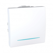Выключатель одноклавишный с подсветкой белый Unika