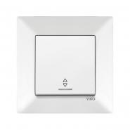 Выключатель 1кл. проходной с подсветкой белый MERIDIAN