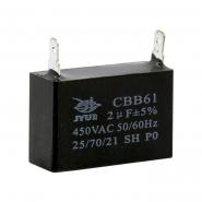 Конденсатор для запуска CBB-61 2uF 450VAC на клеммах 5мм