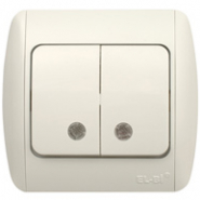 Выключатель двойной с подсветкой белый Распродажа ZIRVE EL-BI