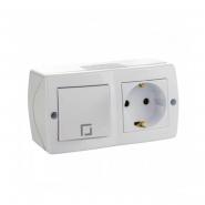 Выключатель 1кл. проходной+розетка с заземлением  накладной Mono Electric, OCTANS IP 20 белый
