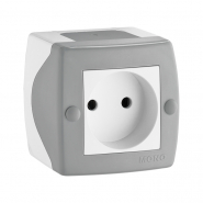 Розетка 1-я без  заземления накладная Mono Electric, OCTANS IP 20 серая