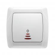 Выключатель 1-кл проходной с подсветкой белый VIKO Серия CARMEN