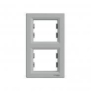 Рамка 2-я вертикальная  ASFORA  алюминий